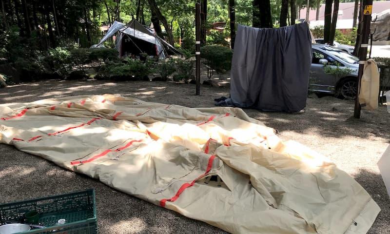DODカマボコテント乾燥方法