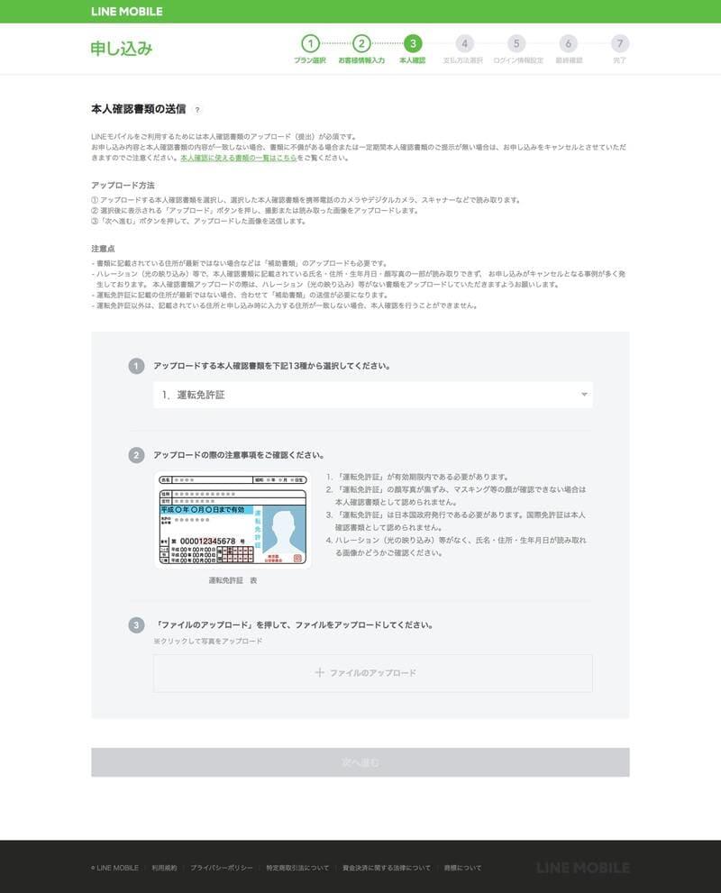LINEモバイル免許書